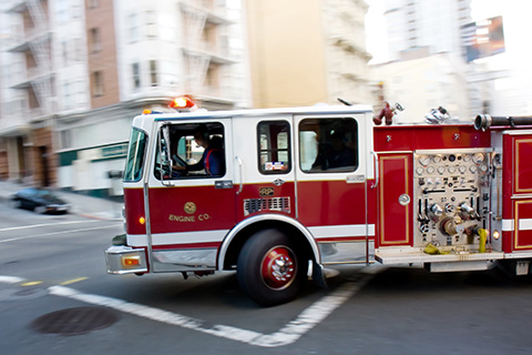 Fire Engine in a City